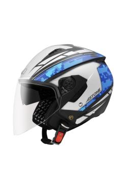 Astone 205 Black AQ1 Blue (Open Face Helmet)