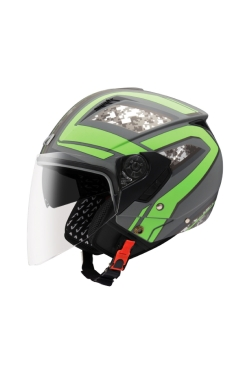 Astone 205 Matte Grey AQ6 Green (Open Face Helmet)
