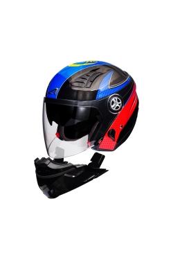 Astone 610 Pearl Black OO23 Blue (Open Face Helmet)