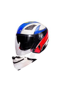 Astone 610 Pearl White OO23 Blue (Open Face Helmet)