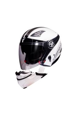 Astone 610 White OO26 Black (Open Face Helmet)