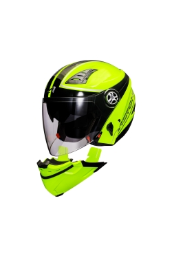 Astone 610 Neon Yellow OO26 Black (Open Face Helmet)