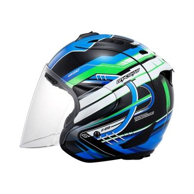 Gracshaw Grixent Hyper Tropper Black Blue (Open Face Helmet)