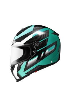 Zeus ZS 1900 Black AO1 Green (Full Face Helmet)