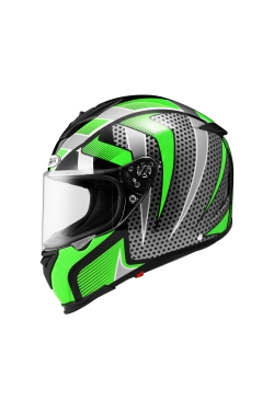 Zeus ZS 1900 Black AO14 Green (Full Face Helmet)