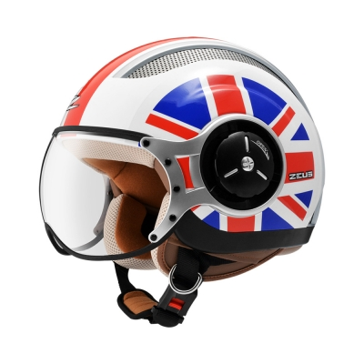 Zeus ZS 218 White SS8 Red (Scooter Helmet)