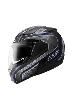 Zeus ZS 3100 Matte Black YY8 Blue (Flip Up Helmet)
