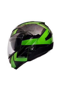 Zeus ZS 3100 Kawasaki Green YY8 Black (Flip Up Helmet)