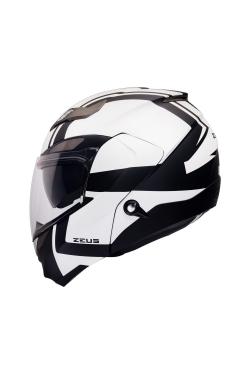 Zeus ZS 3100 Matte Black YY8 White (Flip Up Helmet)