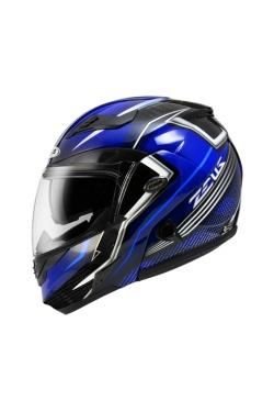 Zeus ZS 3500 Clear Carbon YY7 Blue (Flip Up Helmet)