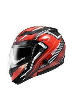 Zeus ZS 3500 Clear Carbon YY7 Red (Flip Up Helmet)