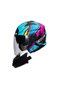 Zeus ZS 613 Matte Black AJ11 Blue (Open Face Helmet)