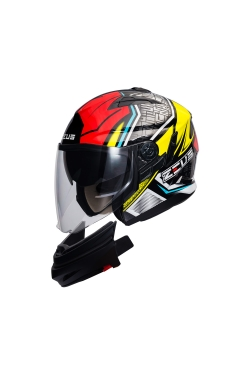 Zeus ZS 613 Black AJ11 Red (Open Face Helmet)