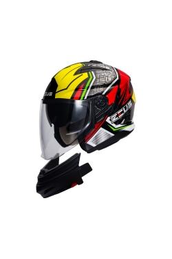 Zeus ZS 613 Black AJ11 Yellow (Open Face Helmet)