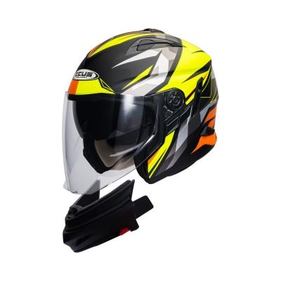 Zeus ZS 613 Matte Black AJ13 Fluorescent Yellow (Open Face Helmet)