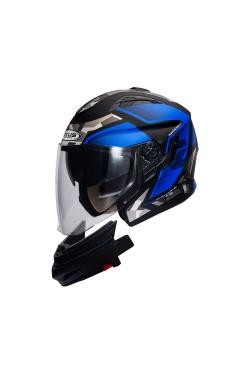 Zeus ZS 613 Matte Black AJ14 Blue (Open Face Helmet)