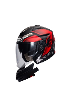 Zeus ZS 613 Matte Black AJ14 Red (Open Face Helmet)