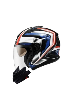 Zeus ZS 613 Pearl Black AJ6 Blue(Open Face Helmet)