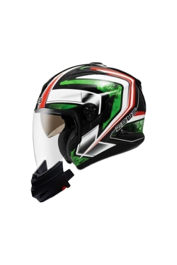 Zeus ZS 613 Matte Black AJ6 Green (Open Face Helmet)