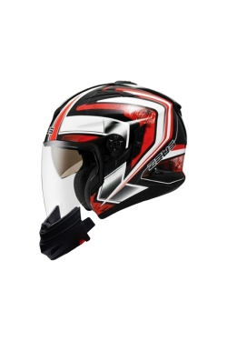 Zeus ZS 613 Pearl Black AJ6 Red (Open Face Helmet)