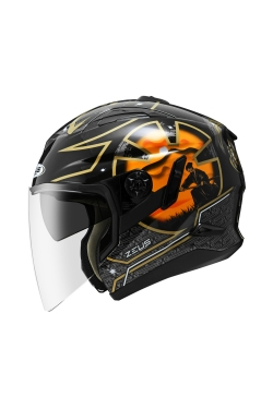 Zeus ZS 613 Black AJ20 Orange (Open Face Helmet)