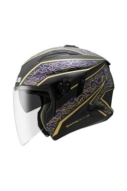 Zeus ZS 613 Matte Black AJ21 Blue (Open Face Helmet)
