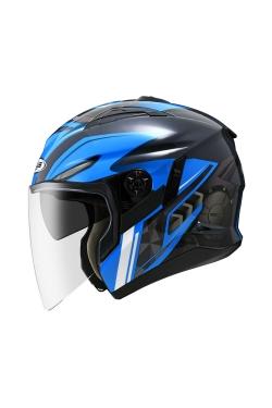 Zeus ZS 613 Black Grey AJ22 Blue (Open Face Helmet)