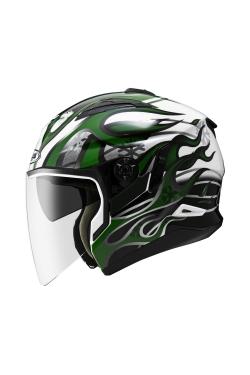 Zeus ZS 613 White AJ19 Green (Open Face Helmet)