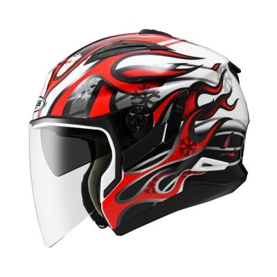 Zeus ZS 613 White AJ19 Red (Open Face Helmet)
