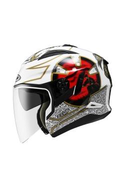 Zeus ZS 613 White AJ20 Red (Open Face Helmet)