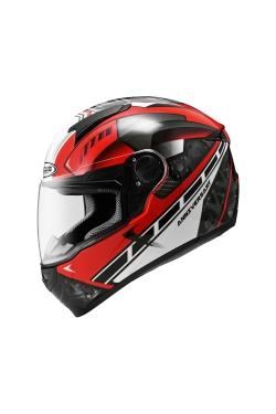 Zeus ZS 811 Red AL41 White (Full Face Helmet)