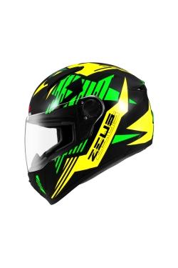 Zeus ZS 811 Black AL28 Green (Full Face Helmet)