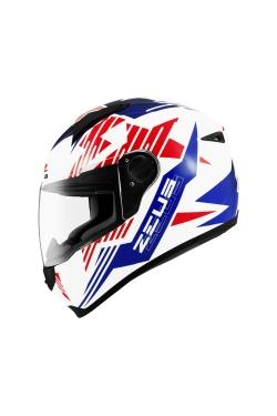 Zeus ZS 811 White AL28 Blue (Full Face Helmet)