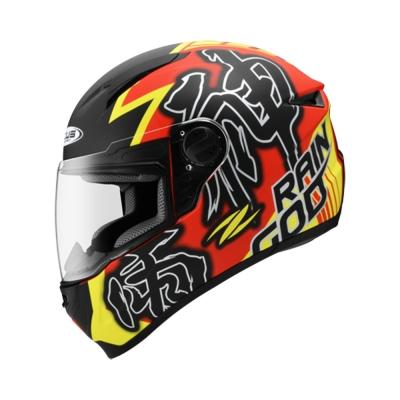 Zeus ZS 811 Matte Red AL31 Fluorescent Yellow (Full Face Helmet)