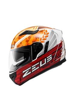 Zeus ZS 813 White AN30 Orange (Full Face Helmet)