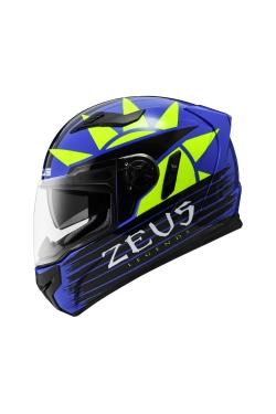 Zeus ZS 813 Dark Blue AN33 Fluo Yellow (Full Face Helmet)