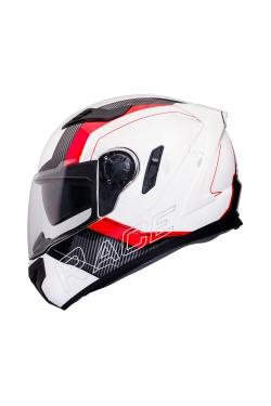 Zeus ZS 813 White AN10 Red (Full Face Helmet)