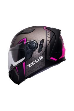 Zeus ZS 813 Matte Black AN25 Pink (Full Face Helmet)